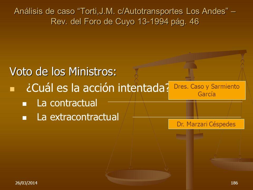 26/03/2014186 Voto de los Ministros: ¿Cuál es la acción intentada? La contractual La extracontractual Dres. Caso y Sarmiento García Dr. Marzari Césped