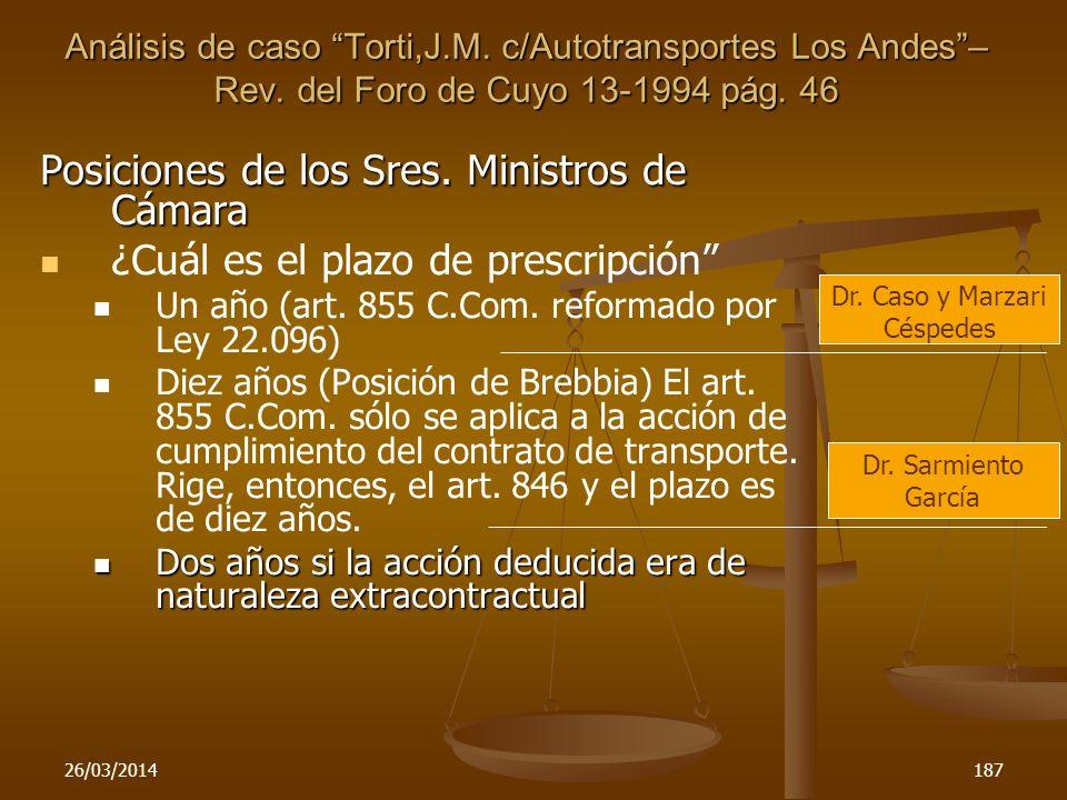 26/03/2014187 Posiciones de los Sres. Ministros de Cámara ¿Cuál es el plazo de prescripción Un año (art. 855 C.Com. reformado por Ley 22.096) Diez año