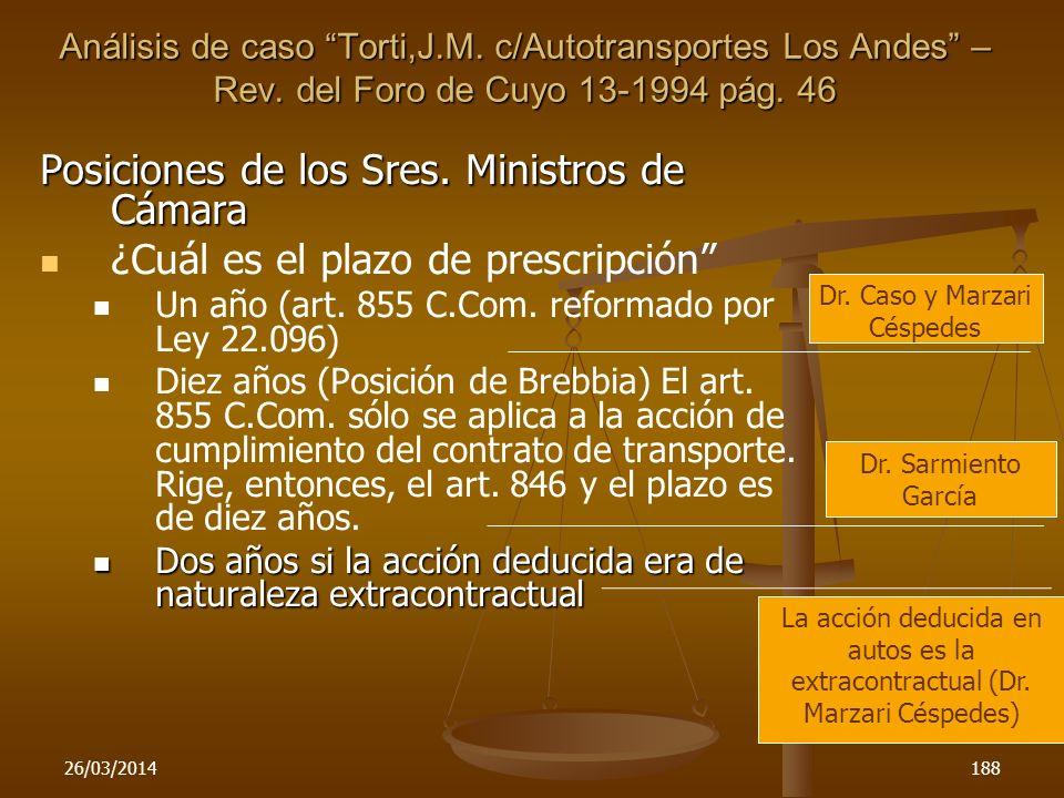 26/03/2014188 Posiciones de los Sres. Ministros de Cámara ¿Cuál es el plazo de prescripción Un año (art. 855 C.Com. reformado por Ley 22.096) Diez año