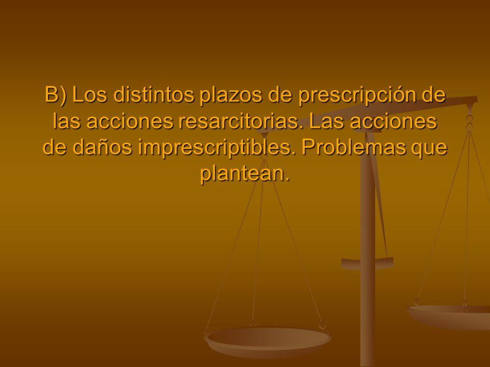 B) Los distintos plazos de prescripción de las acciones resarcitorias. Las acciones de daños imprescriptibles. Problemas que plantean.