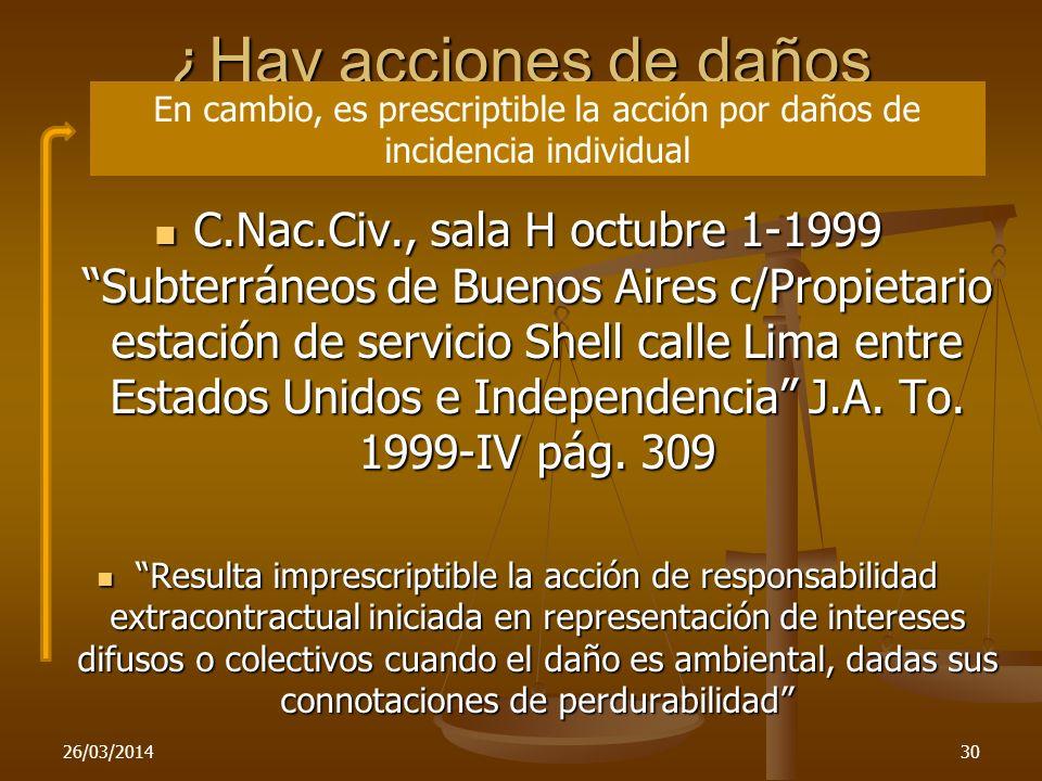 ¿Hay acciones de daños imprescriptibles? 26/03/201430 C.Nac.Civ., sala H octubre 1-1999 Subterráneos de Buenos Aires c/Propietario estación de servici