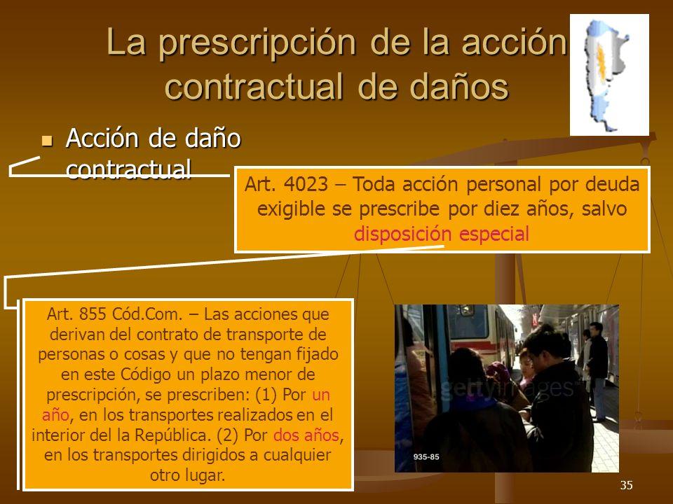 26/03/201435 La prescripción de la acción contractual de daños Acción de daño contractual Acción de daño contractual Art. 4023 – Toda acción personal