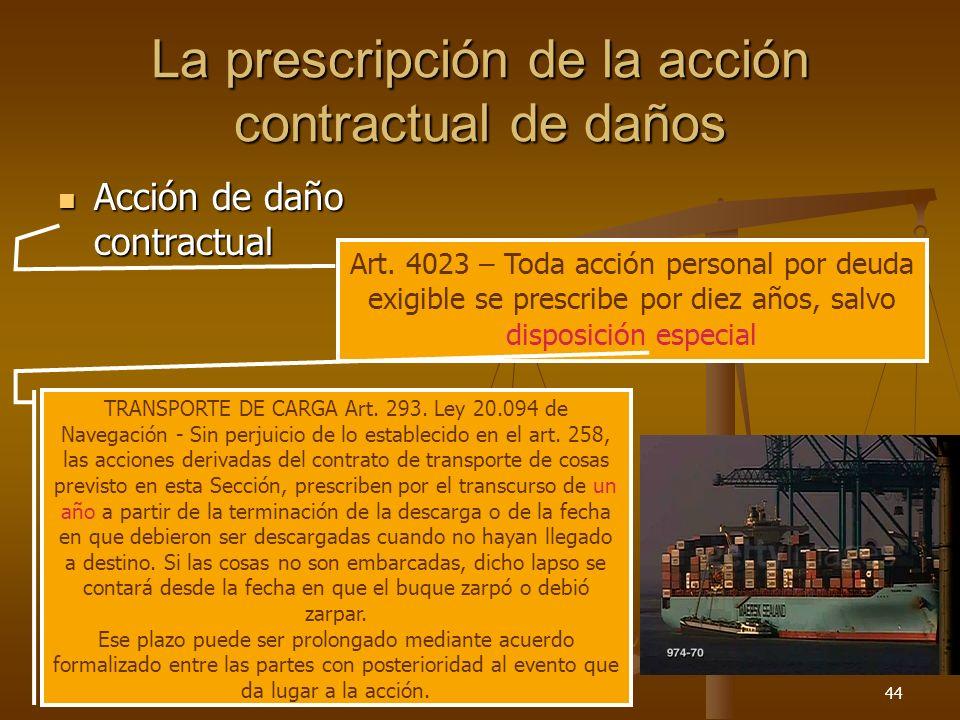 26/03/201444 La prescripción de la acción contractual de daños Acción de daño contractual Acción de daño contractual Art. 4023 – Toda acción personal