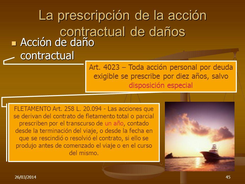 26/03/201445 La prescripción de la acción contractual de daños Acción de daño contractual Acción de daño contractual Art. 4023 – Toda acción personal