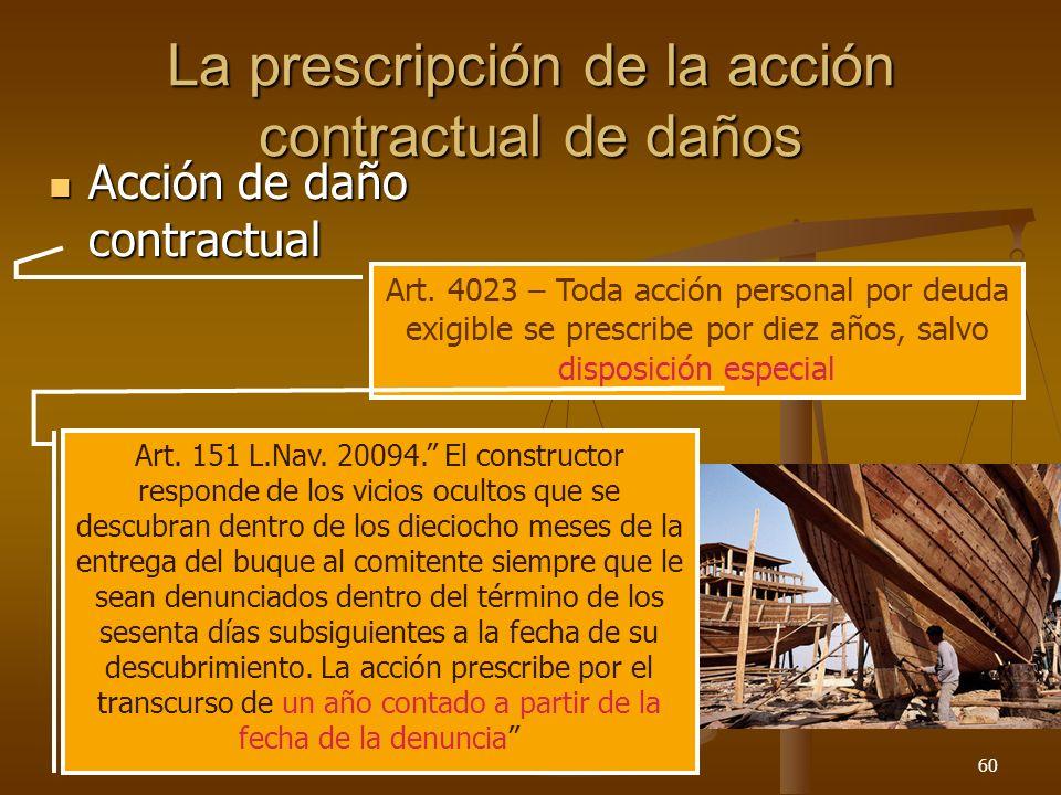 26/03/201460 La prescripción de la acción contractual de daños Acción de daño contractual Acción de daño contractual Art. 4023 – Toda acción personal