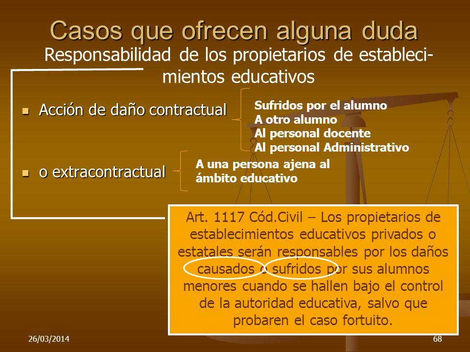 26/03/201468 Casos que ofrecen alguna duda Acción de daño contractual Acción de daño contractual o extracontractual o extracontractual Art. 1117 Cód.C