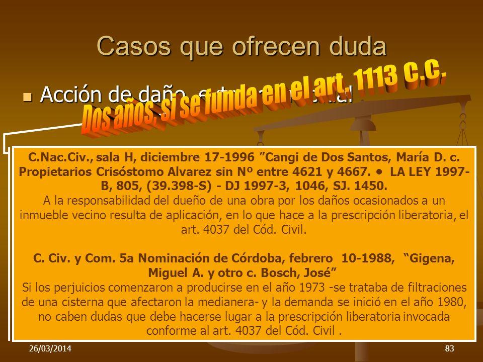 26/03/201483 Casos que ofrecen duda Acción de daño extracontractual Acción de daño extracontractual C.Nac.Civ., sala H, diciembre 17-1996 Cangi de Dos