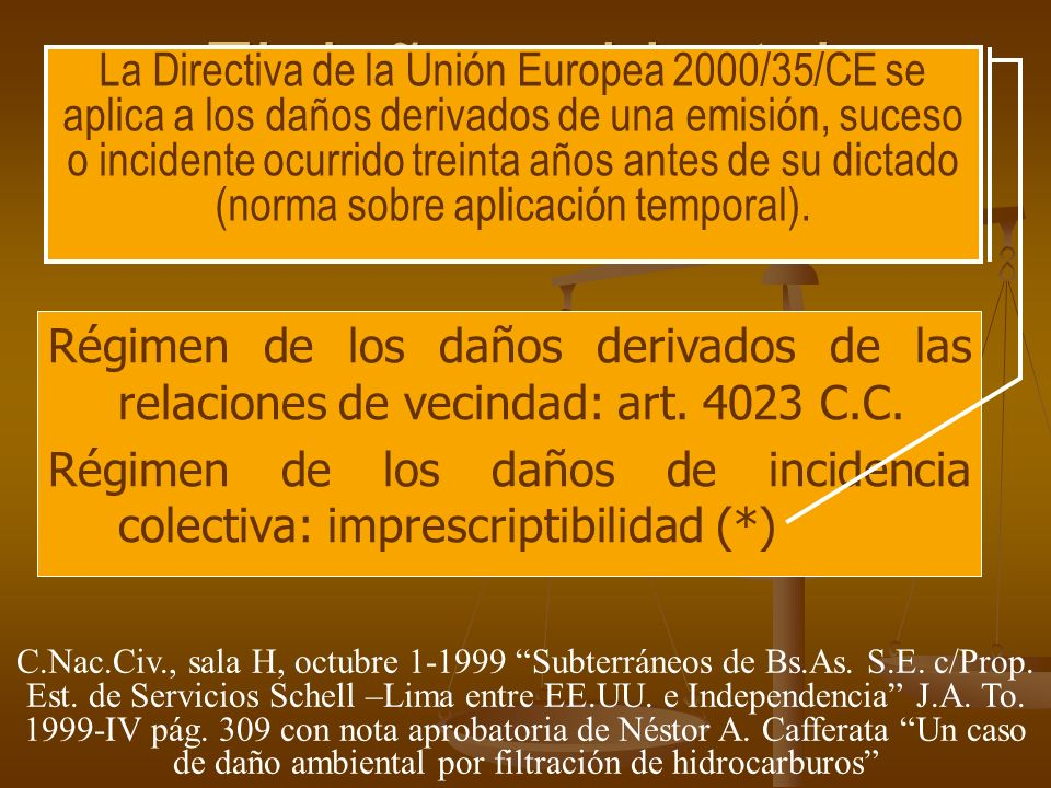 El daño ambiental Régimen de los daños derivados de las relaciones de vecindad: art. 4023 C.C. Régimen de los daños de incidencia colectiva: imprescri