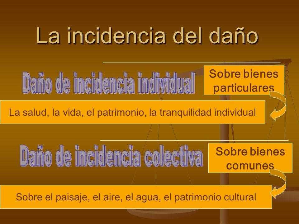 La incidencia del daño Sobre bienes particulares Sobre bienes comunes Sobre el paisaje, el aire, el agua, el patrimonio cultural La salud, la vida, el