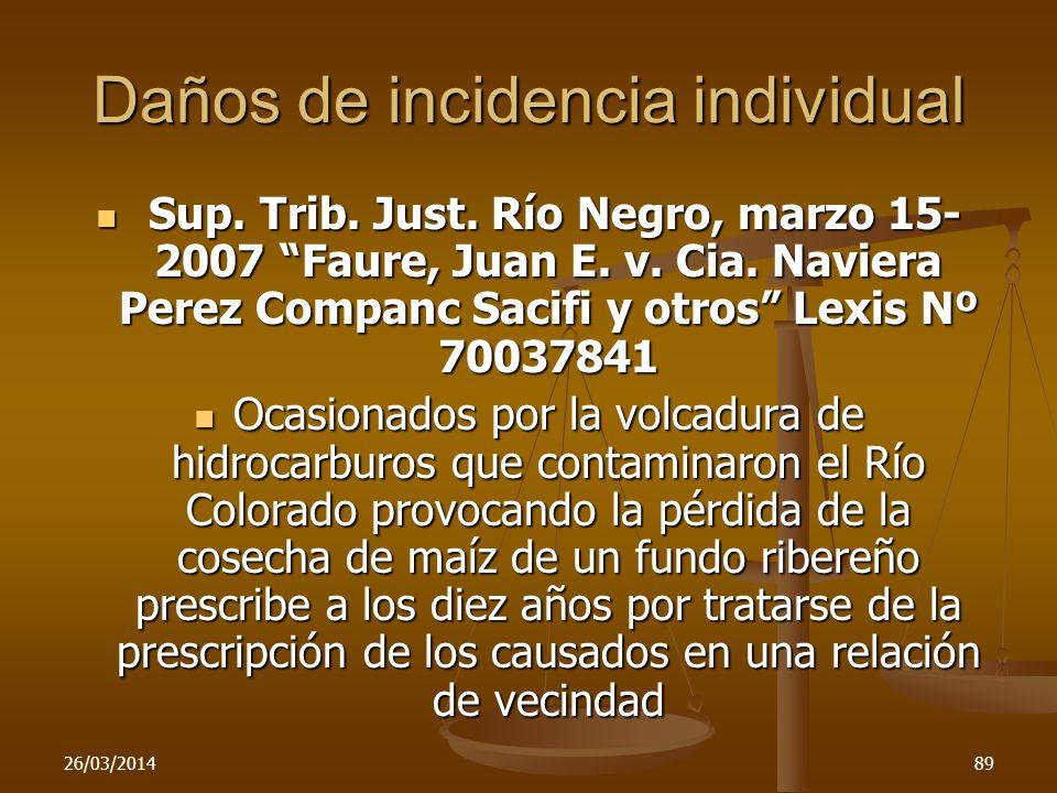 Daños de incidencia individual Sup. Trib. Just. Río Negro, marzo 15- 2007 Faure, Juan E. v. Cia. Naviera Perez Companc Sacifi y otros Lexis Nº 7003784