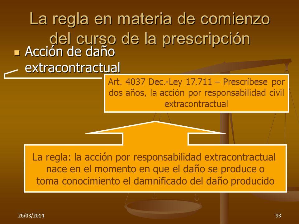 26/03/201493 La regla en materia de comienzo del curso de la prescripción Acción de daño extracontractual Acción de daño extracontractual Art. 4037 De