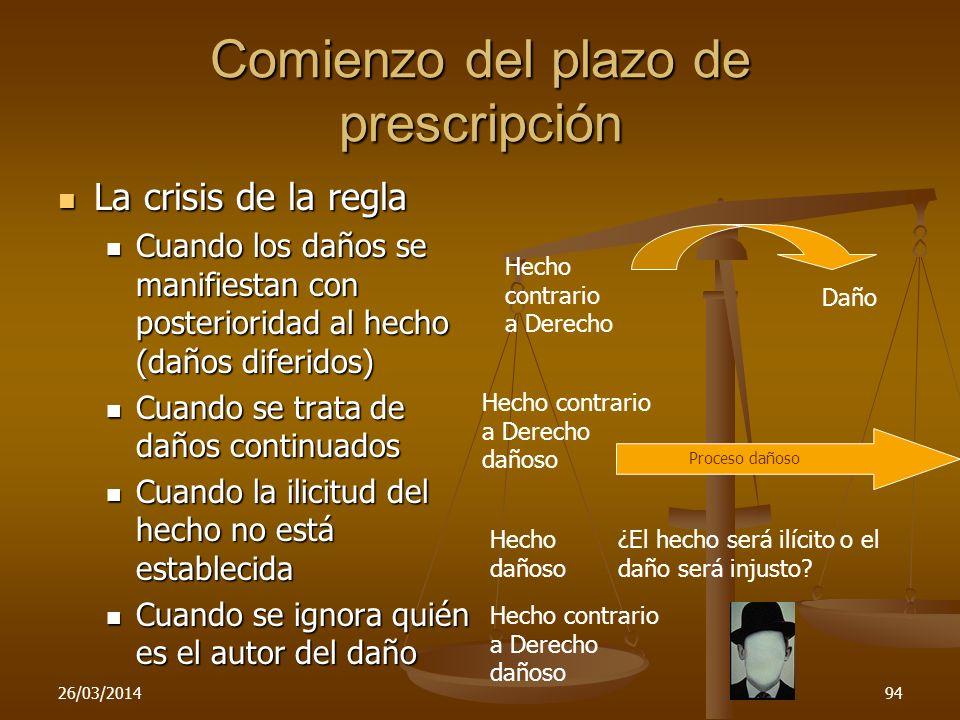 26/03/201494 Comienzo del plazo de prescripción La crisis de la regla La crisis de la regla Cuando los daños se manifiestan con posterioridad al hecho