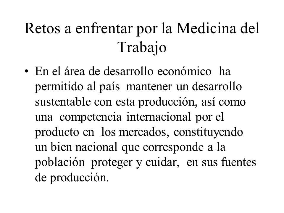 Retos a enfrentar por la Medicina del Trabajo En el área de desarrollo económico ha permitido al país mantener un desarrollo sustentable con esta prod