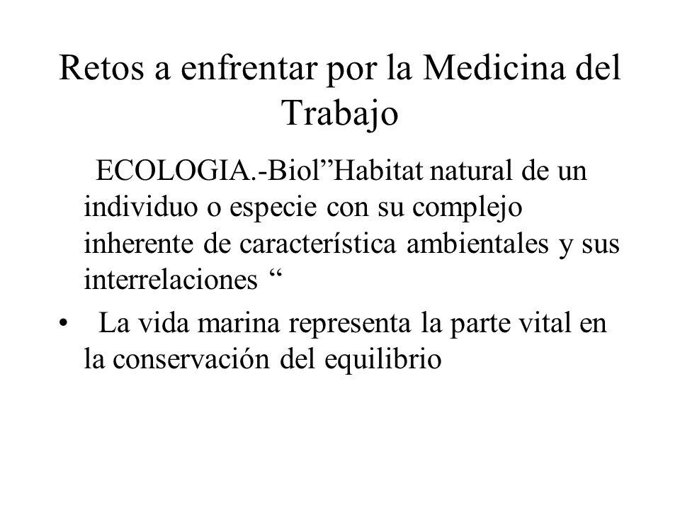Retos a enfrentar por la Medicina del Trabajo ECOLOGIA.-BiolHabitat natural de un individuo o especie con su complejo inherente de característica ambientales y sus interrelaciones La vida marina representa la parte vital en la conservación del equilibrio