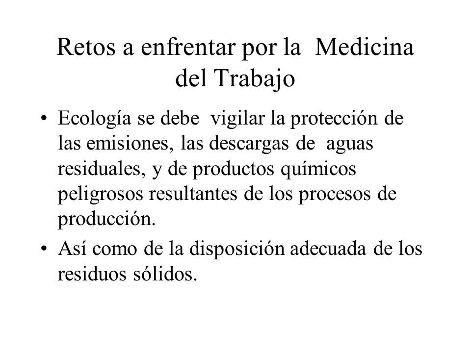 Retos a enfrentar por la Medicina del Trabajo Ecología se debe vigilar la protección de las emisiones, las descargas de aguas residuales, y de productos químicos peligrosos resultantes de los procesos de producción.