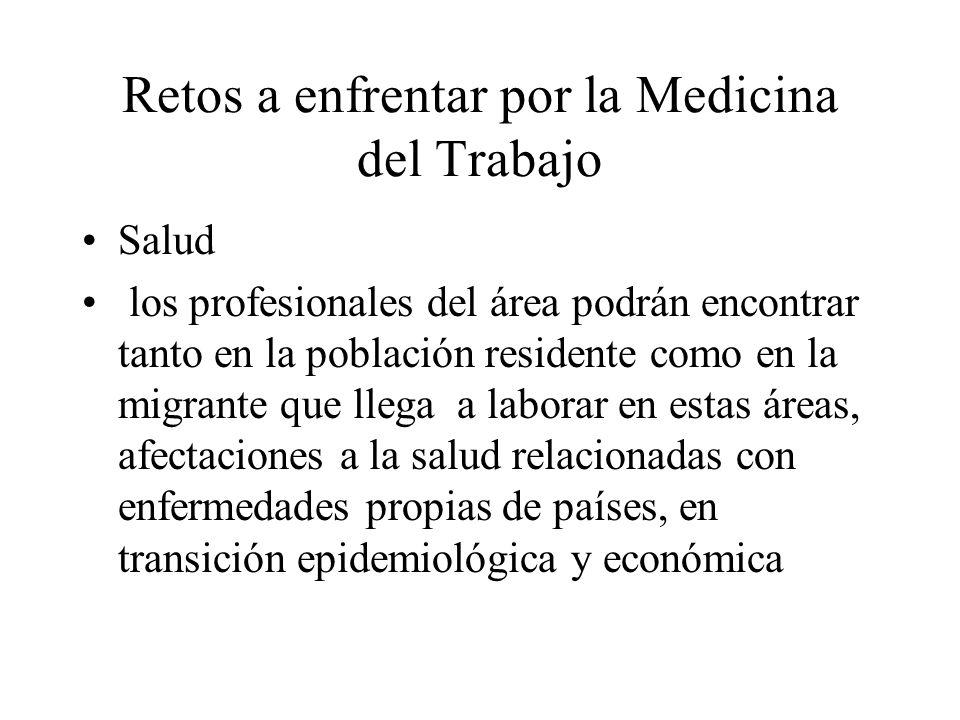 Retos a enfrentar por la Medicina del Trabajo Salud los profesionales del área podrán encontrar tanto en la población residente como en la migrante qu