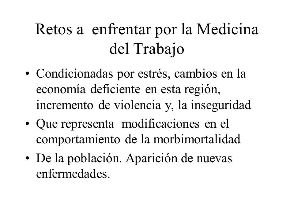Retos a enfrentar por la Medicina del Trabajo Condicionadas por estrés, cambios en la economía deficiente en esta región, incremento de violencia y, l