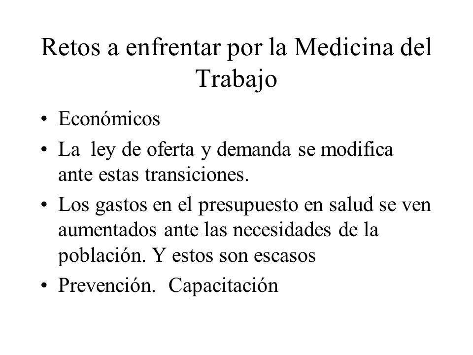 Retos a enfrentar por la Medicina del Trabajo Económicos La ley de oferta y demanda se modifica ante estas transiciones. Los gastos en el presupuesto