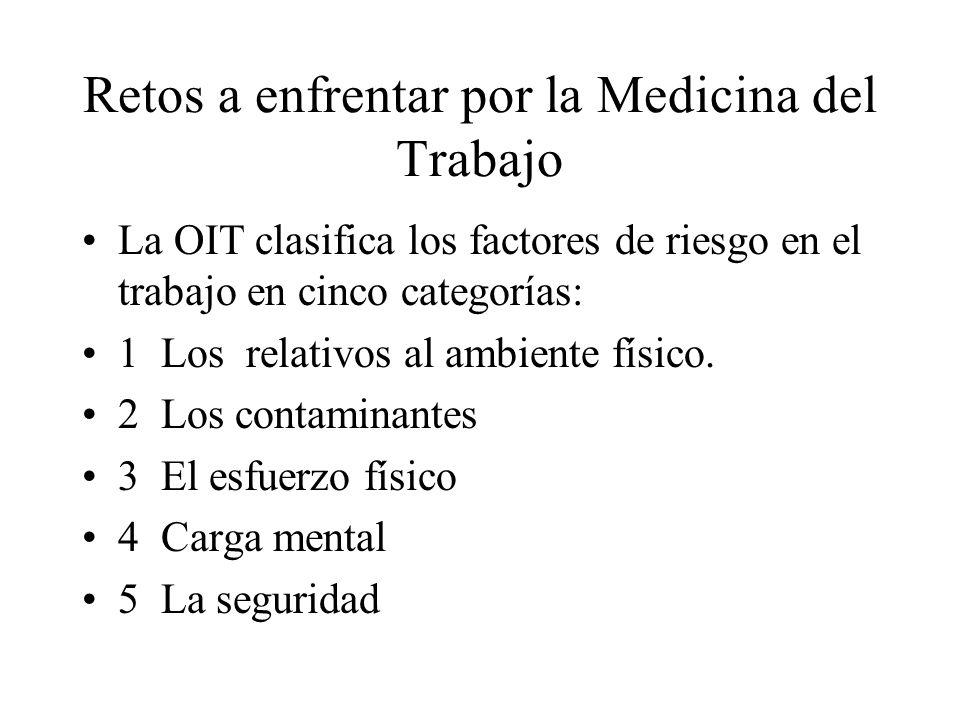 Retos a enfrentar por la Medicina del Trabajo La OIT clasifica los factores de riesgo en el trabajo en cinco categorías: 1 Los relativos al ambiente físico.