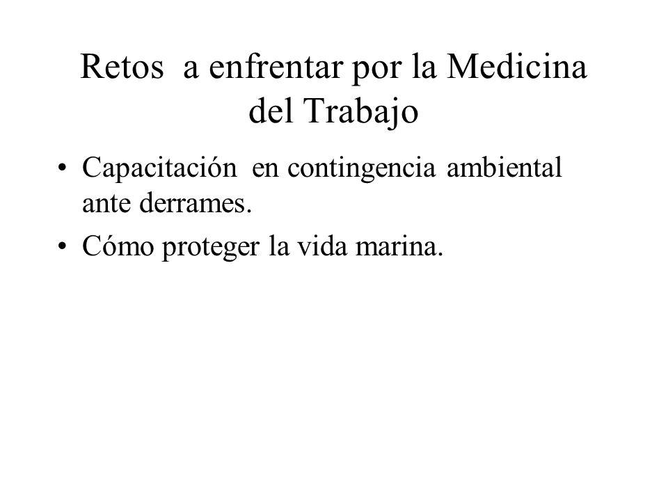 Retos a enfrentar por la Medicina del Trabajo Capacitación en contingencia ambiental ante derrames.