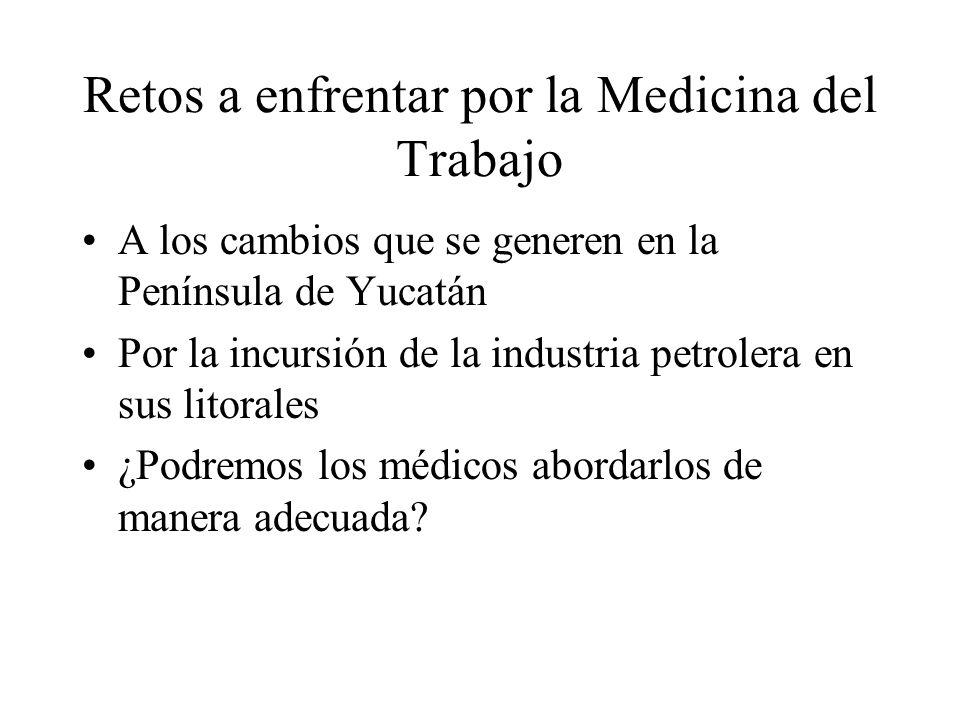 Retos a enfrentar por la Medicina del Trabajo A los cambios que se generen en la Península de Yucatán Por la incursión de la industria petrolera en sus litorales ¿Podremos los médicos abordarlos de manera adecuada