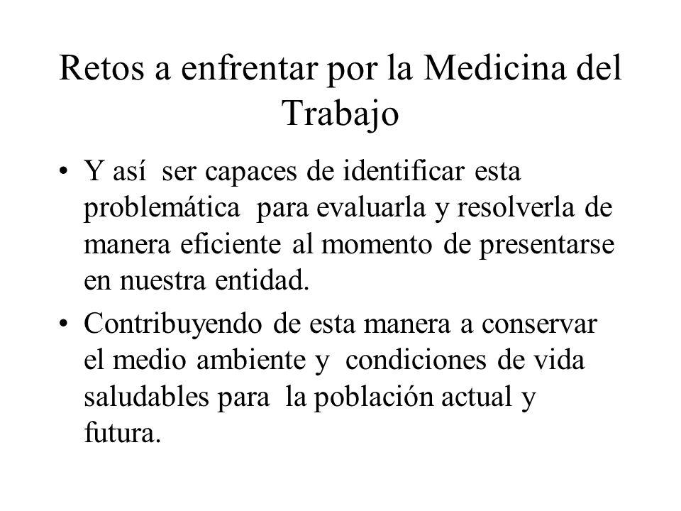 Retos a enfrentar por la Medicina del Trabajo Y así ser capaces de identificar esta problemática para evaluarla y resolverla de manera eficiente al momento de presentarse en nuestra entidad.