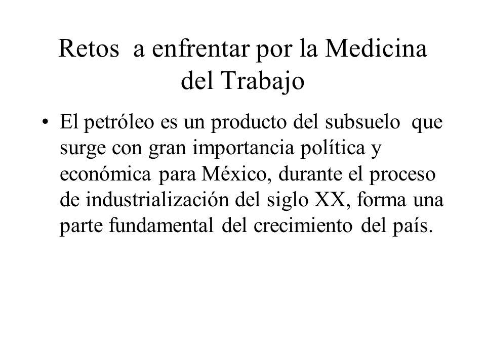 Retos a enfrentar por la Medicina del Trabajo El petróleo es un producto del subsuelo que surge con gran importancia política y económica para México, durante el proceso de industrialización del siglo XX, forma una parte fundamental del crecimiento del país.