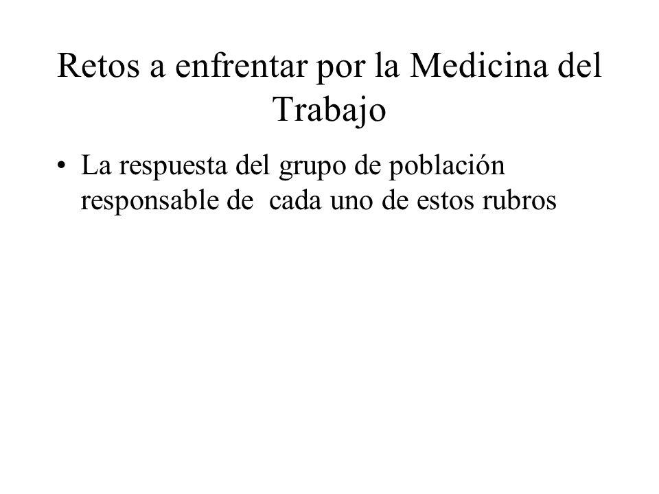 Retos a enfrentar por la Medicina del Trabajo La respuesta del grupo de población responsable de cada uno de estos rubros