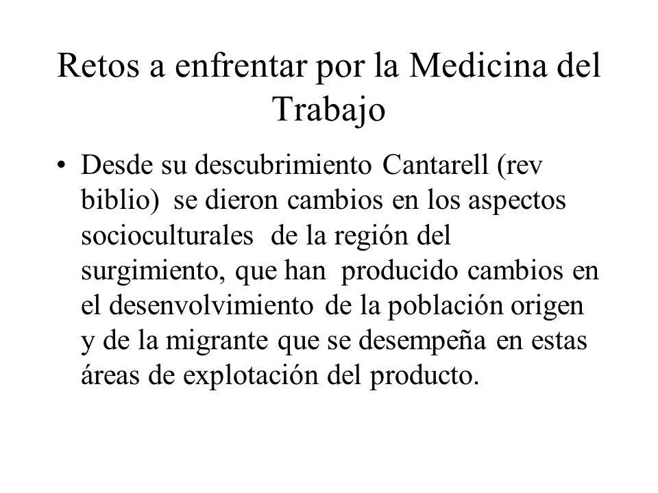 Retos a enfrentar por la Medicina del Trabajo Desde su descubrimiento Cantarell (rev biblio) se dieron cambios en los aspectos socioculturales de la r
