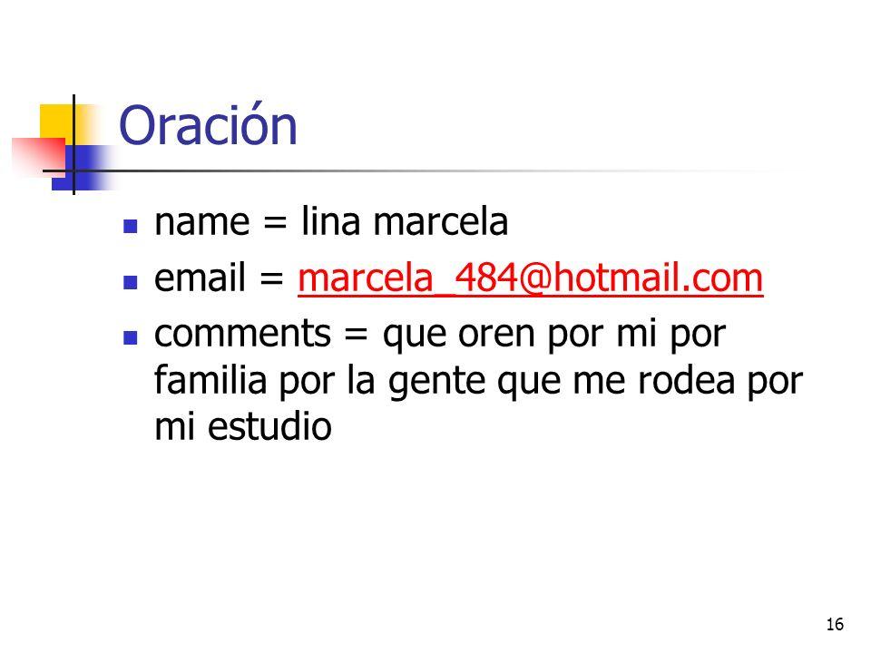 Oración name = lina marcela email = marcela_484@hotmail.commarcela_484@hotmail.com comments = que oren por mi por familia por la gente que me rodea por mi estudio 16