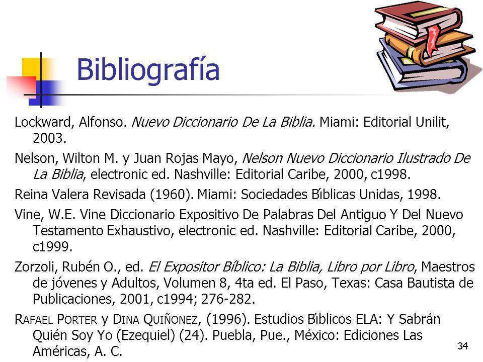 34 Bibliografía Lockward, Alfonso.Nuevo Diccionario De La Biblia.