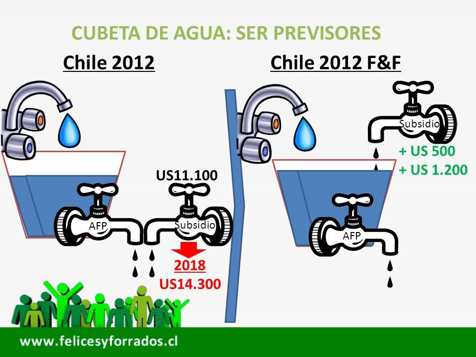 CUBETA DE AGUA: SER PREVISORES Chile 2012Chile 2012 F&F Subsidio AFP Subsidio AFP US11.100 + US 500 + US 1.200 2018 US14.300