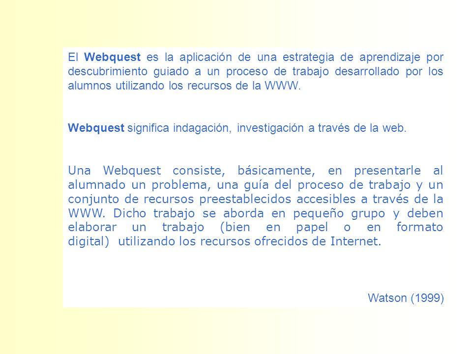 El Webquest es la aplicación de una estrategia de aprendizaje por descubrimiento guiado a un proceso de trabajo desarrollado por los alumnos utilizand