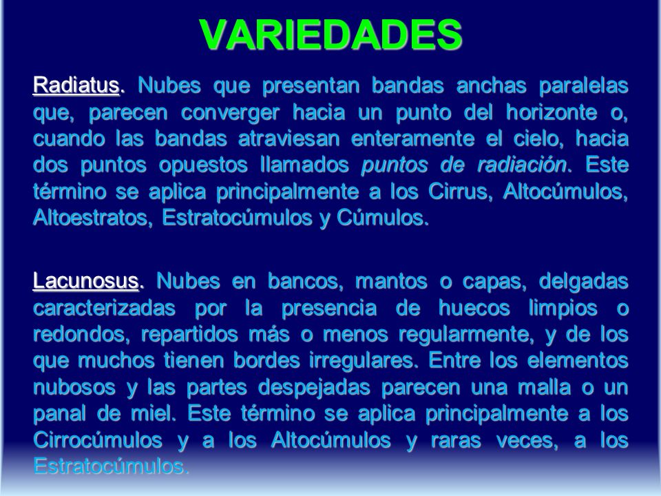 VARIEDADES Radiatus.