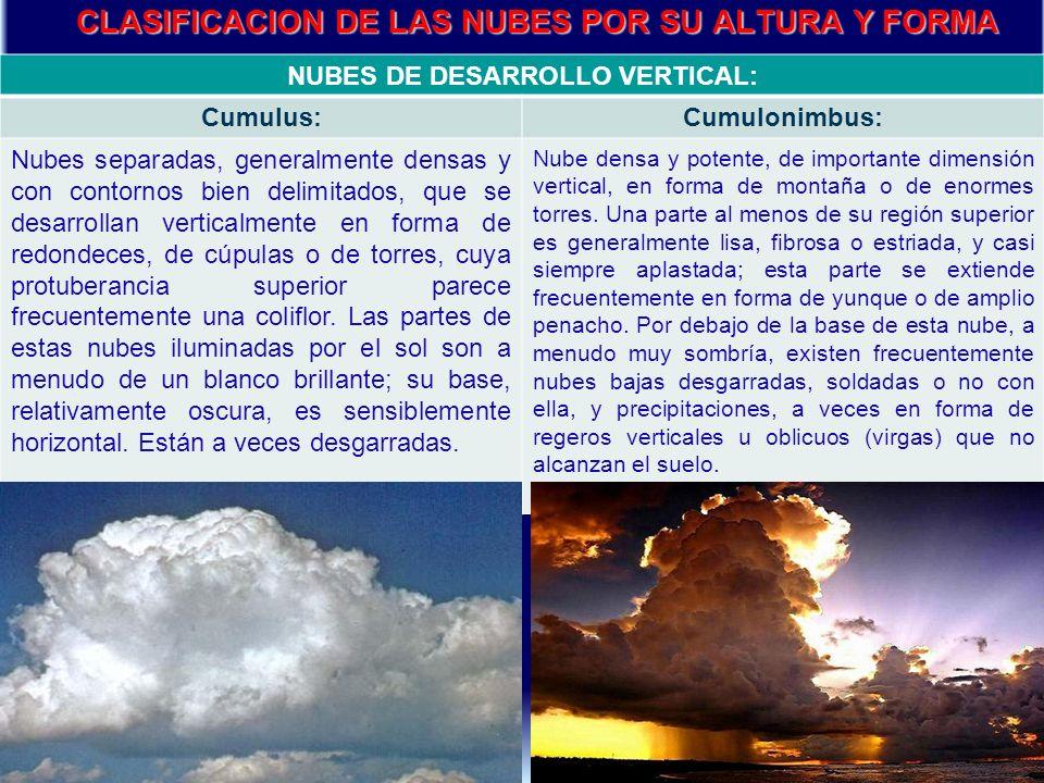 NUBES DE DESARROLLO VERTICAL: Cumulus:Cumulonimbus: Nubes separadas, generalmente densas y con contornos bien delimitados, que se desarrollan verticalmente en forma de redondeces, de cúpulas o de torres, cuya protuberancia superior parece frecuentemente una coliflor.
