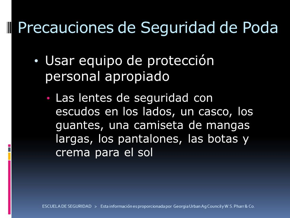 ESCUELA DE SEGURIDAD > Esta información es proporcionada por Georgia Urban Ag Council y W.S. Pharr & Co. Precauciones de Seguridad de Poda Usar equipo