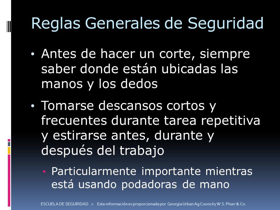 ESCUELA DE SEGURIDAD > Esta información es proporcionada por Georgia Urban Ag Council y W.S. Pharr & Co. Reglas Generales de Seguridad Antes de hacer