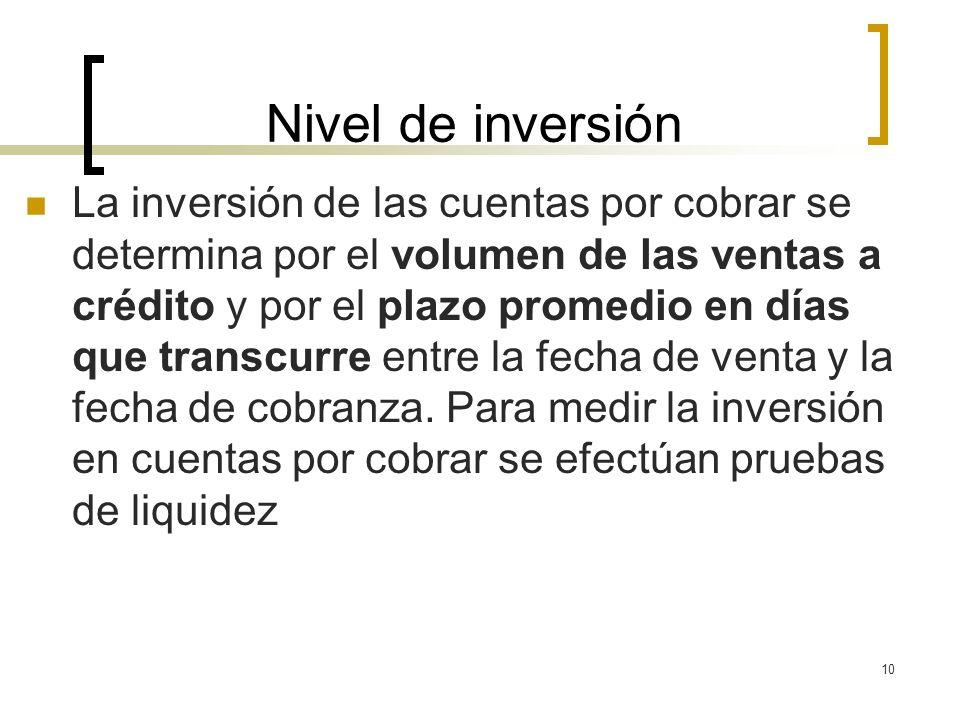 10 Nivel de inversión La inversión de las cuentas por cobrar se determina por el volumen de las ventas a crédito y por el plazo promedio en días que t