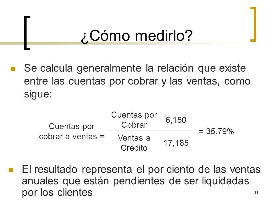 11 ¿Cómo medirlo? Se calcula generalmente la relación que existe entre las cuentas por cobrar y las ventas, como sigue: Cuentas por cobrar a ventas =