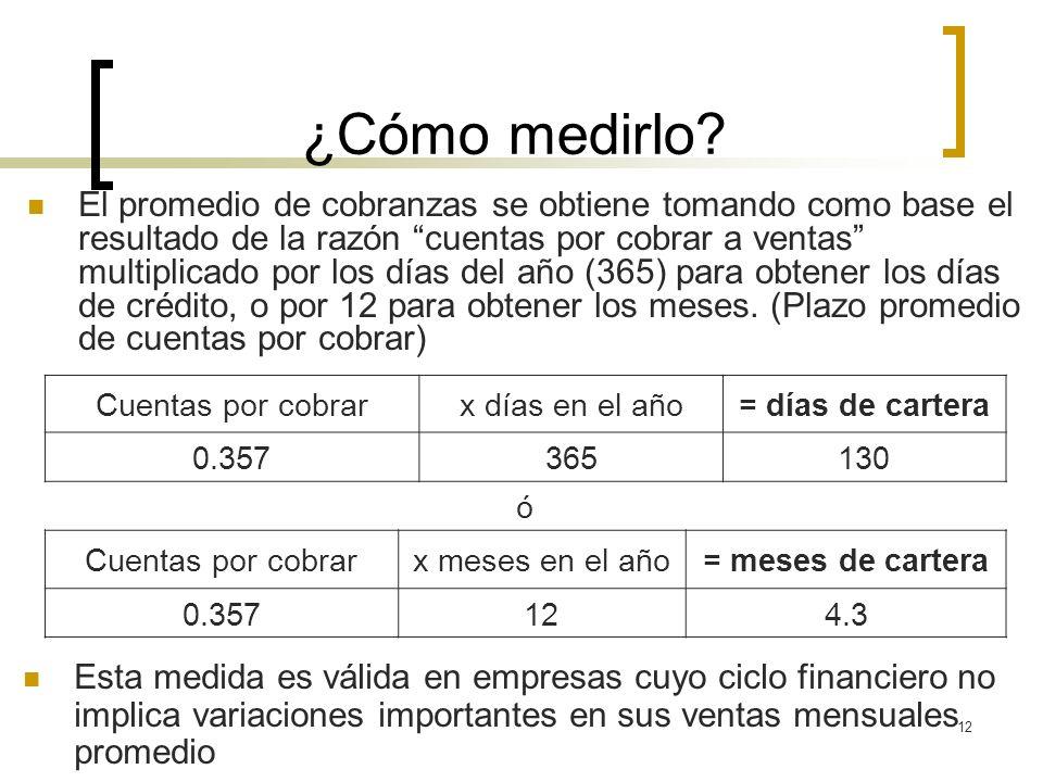 12 ¿Cómo medirlo? El promedio de cobranzas se obtiene tomando como base el resultado de la razón cuentas por cobrar a ventas multiplicado por los días