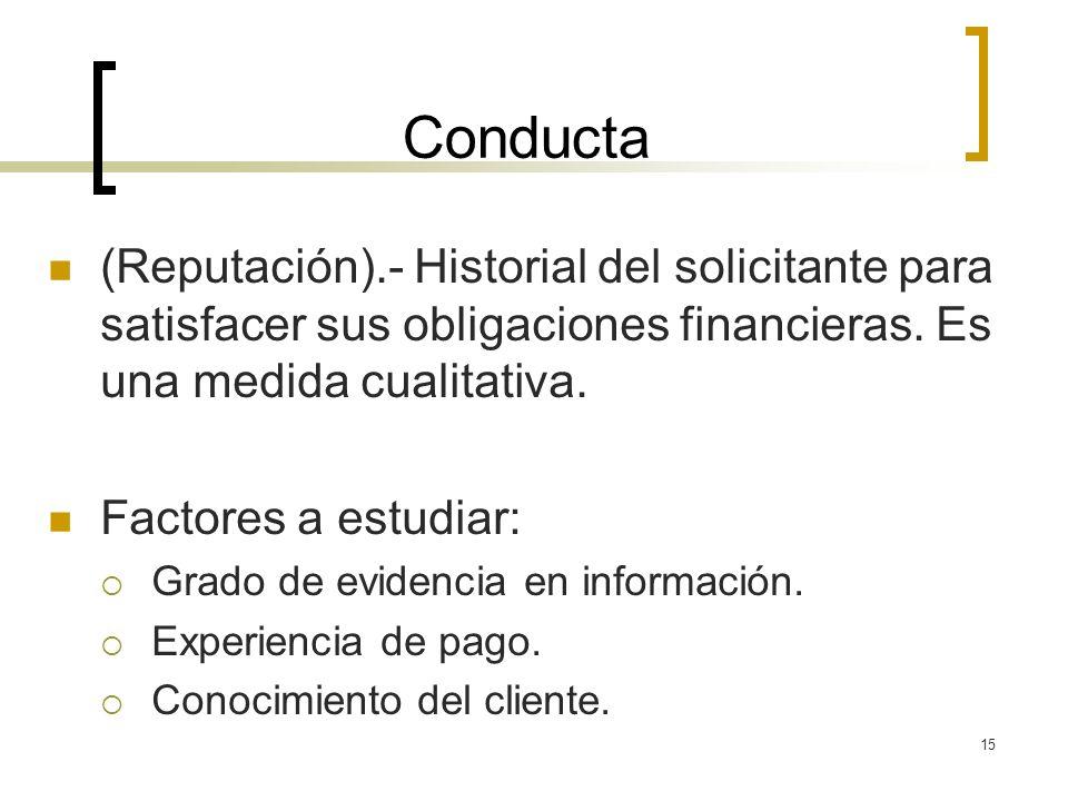 15 Conducta (Reputación).- Historial del solicitante para satisfacer sus obligaciones financieras. Es una medida cualitativa. Factores a estudiar: Gra