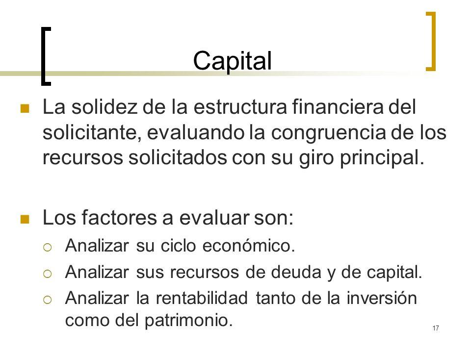 17 Capital La solidez de la estructura financiera del solicitante, evaluando la congruencia de los recursos solicitados con su giro principal. Los fac