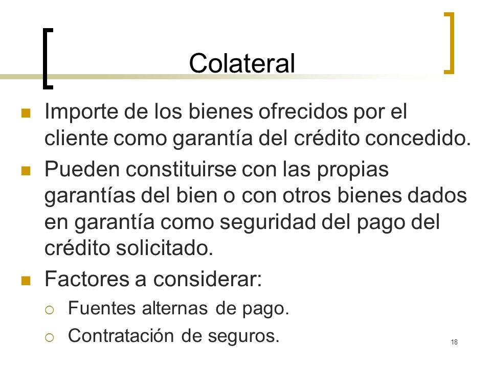 18 Colateral Importe de los bienes ofrecidos por el cliente como garantía del crédito concedido. Pueden constituirse con las propias garantías del bie