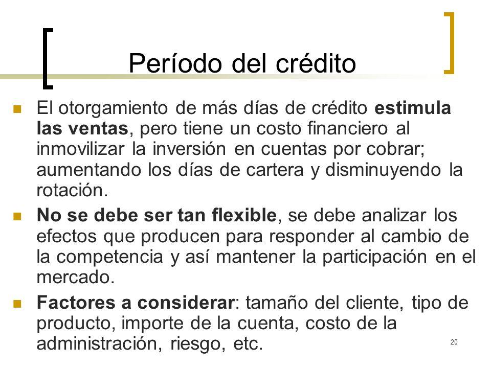 20 Período del crédito El otorgamiento de más días de crédito estimula las ventas, pero tiene un costo financiero al inmovilizar la inversión en cuent