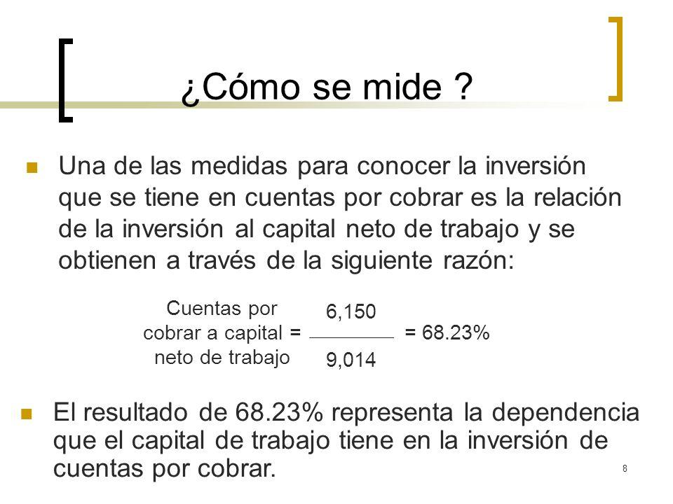 8 ¿Cómo se mide ? Una de las medidas para conocer la inversión que se tiene en cuentas por cobrar es la relación de la inversión al capital neto de tr