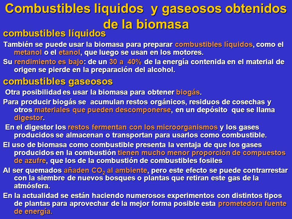 Combustibles liquidos y gaseosos obtenidos de la biomasa combustibles líquidos También se puede usar la biomasa para preparar combustibles líquidos, c