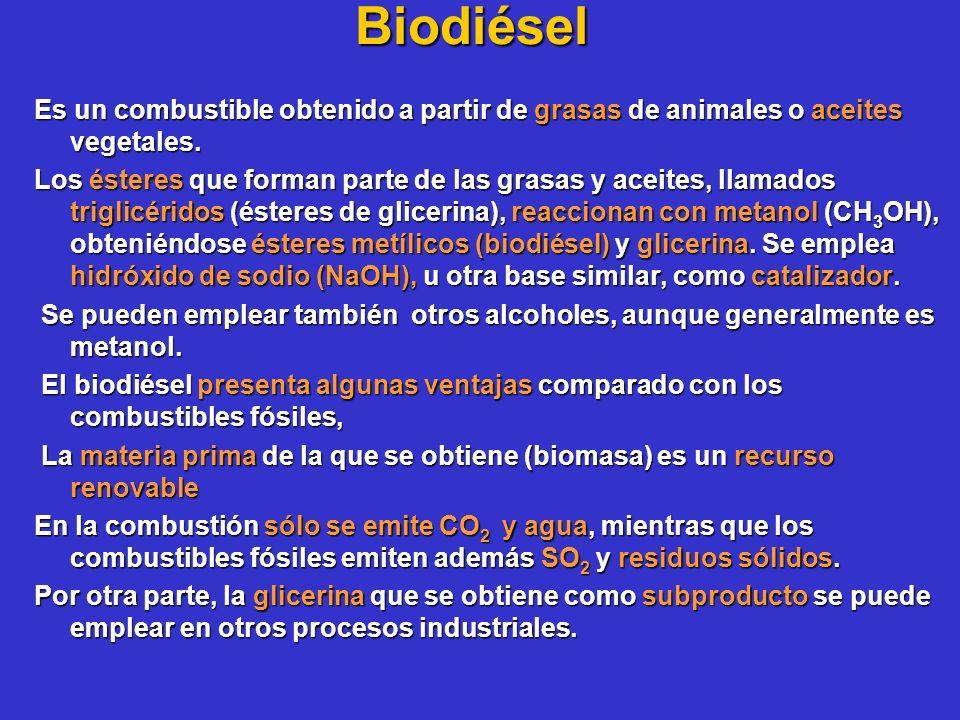 Biodiésel Es un combustible obtenido a partir de grasas de animales o aceites vegetales. Los ésteres que forman parte de las grasas y aceites, llamado