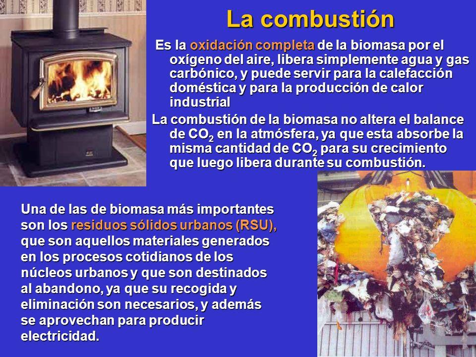 La combustión La combustión Es la oxidación completa de la biomasa por el oxígeno del aire, libera simplemente agua y gas carbónico, y puede servir pa