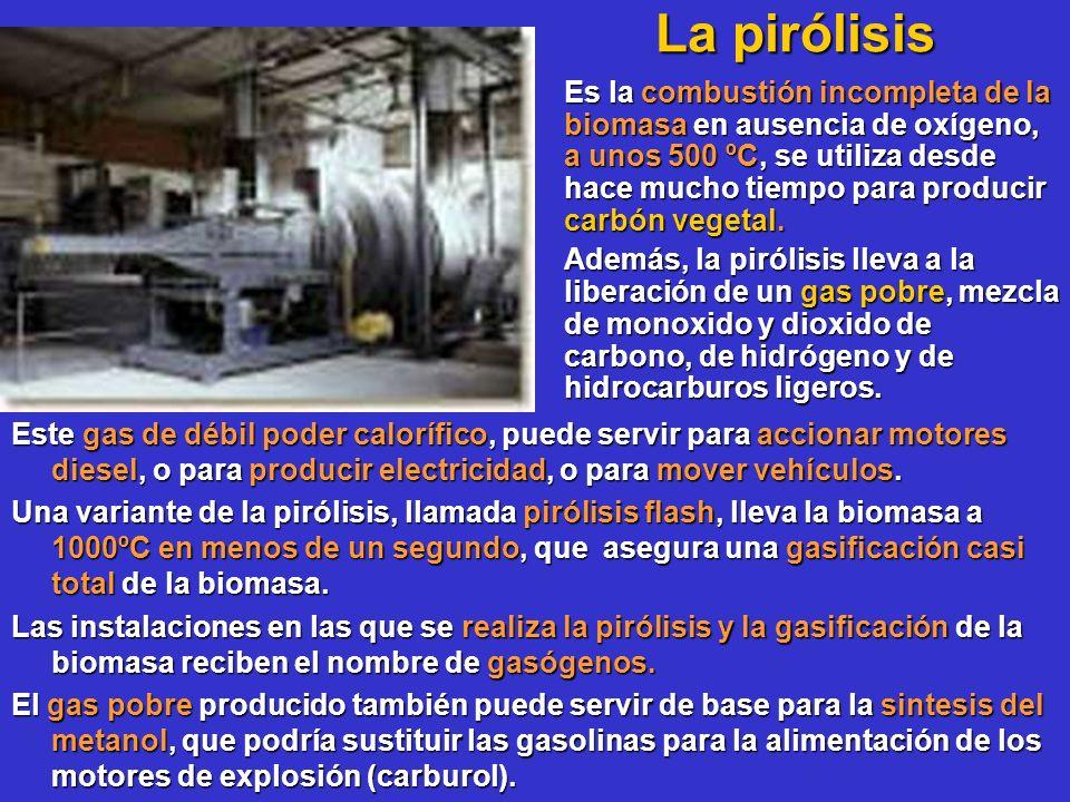La pirólisis La pirólisis Este gas de débil poder calorífico, puede servir para accionar motores diesel, o para producir electricidad, o para mover ve