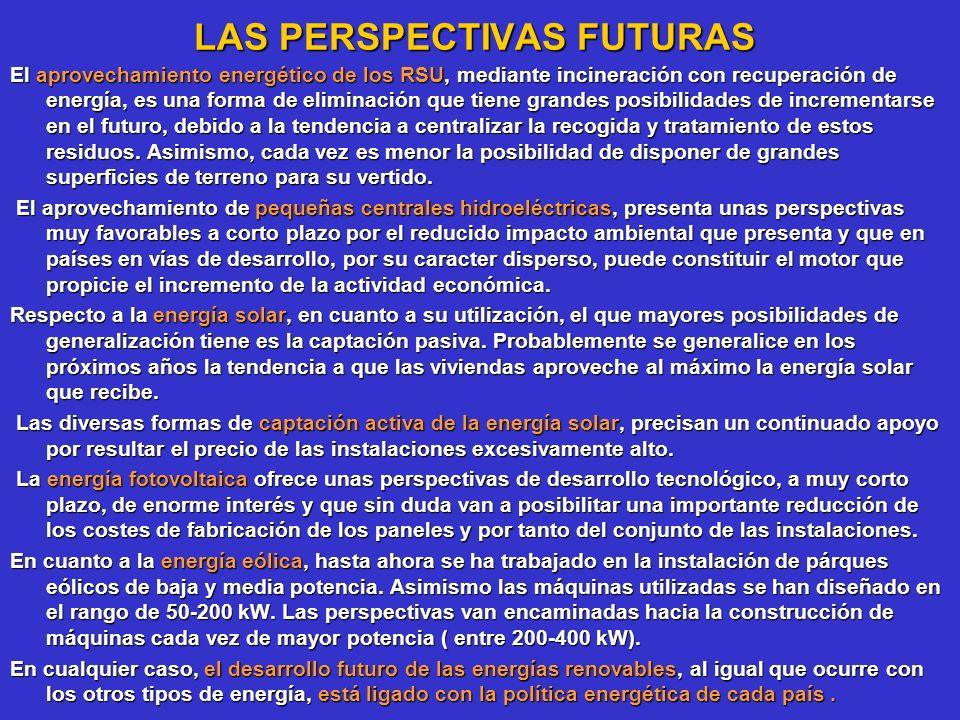 LAS PERSPECTIVAS FUTURAS LAS PERSPECTIVAS FUTURAS El aprovechamiento energético de los RSU, mediante incineración con recuperación de energía, es una